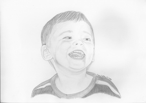 Portrait sketch of boy laughing.