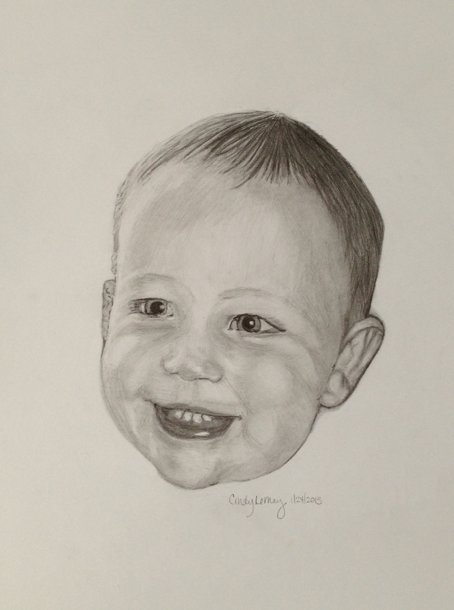Portrait sketch of baby.