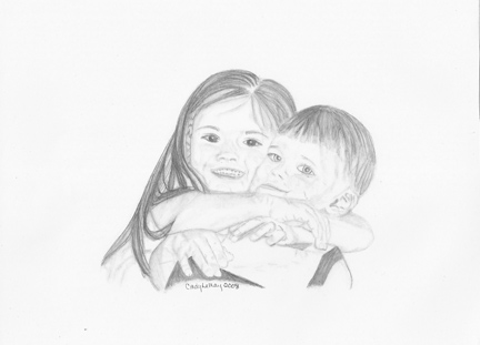 Sketch of brother and sister hugging.