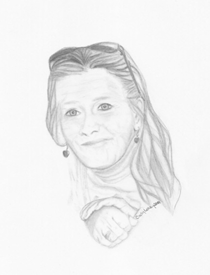 Portrait sketch of woman.
