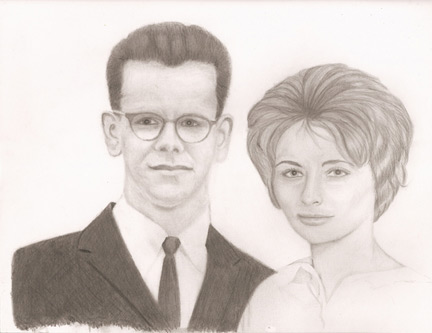 Portrait sketch of brother and sister hugging.