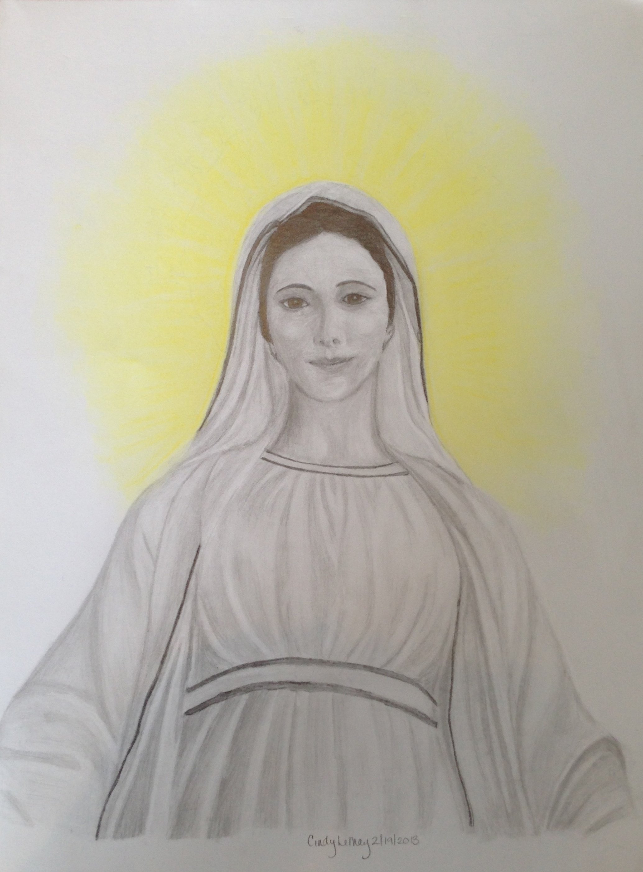 Sketch of Virgin Mary in large format.
